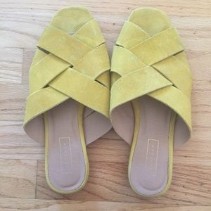 TopShop Mustard Yellow Suede Slip On Flat Shoes